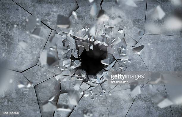 exploding concrete wall - demolishing stock pictures, royalty-free photos & images