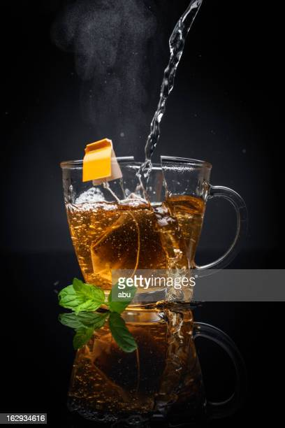Exploding cup of hot tea