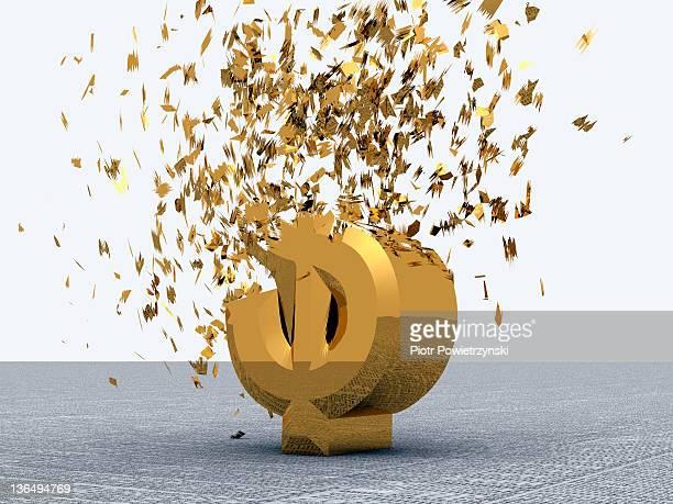Exploding gold Dollar symbol.