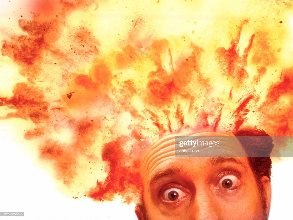 Exploding head : Stock Photo