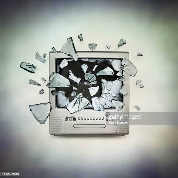 tv exploding - destruction stock pictures, royalty-free photos & images