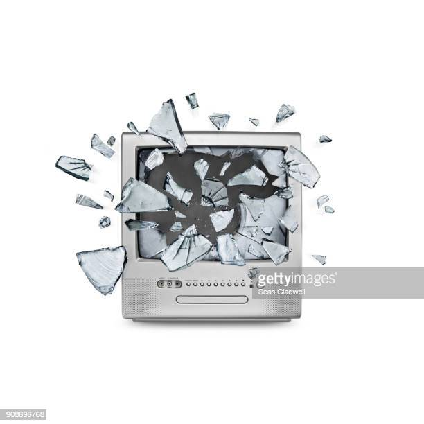 exploding screen - exploding glass stock photos and pictures