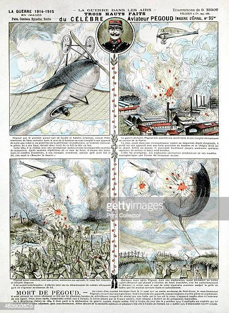 Exploits of French air ace Adolphe Pegoud, killed in action 1915. Looping-the-loop, dropping bombs, shooting- up observation balloon. From a...