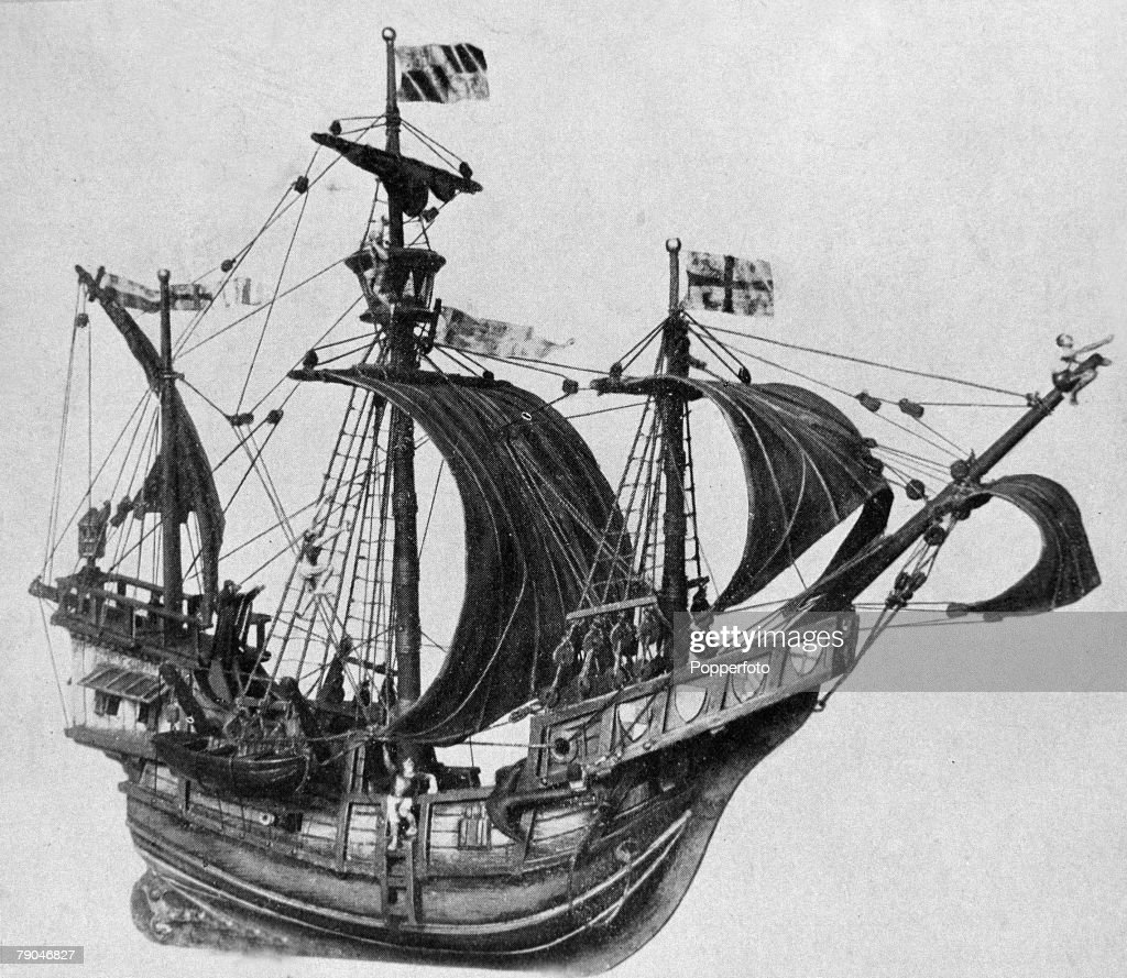 """Exploration, A Model Of The """"Nina"""" One Of The Three Ships"""