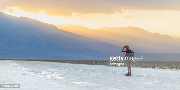 Exploration in the salt desert in Death Valley