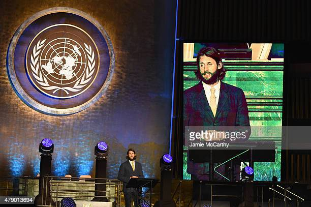 Explorer David de Rothschild speaks on stage at the United Nations x Parley For The Oceans Launch Event at the United Nations General Assembly Hall...