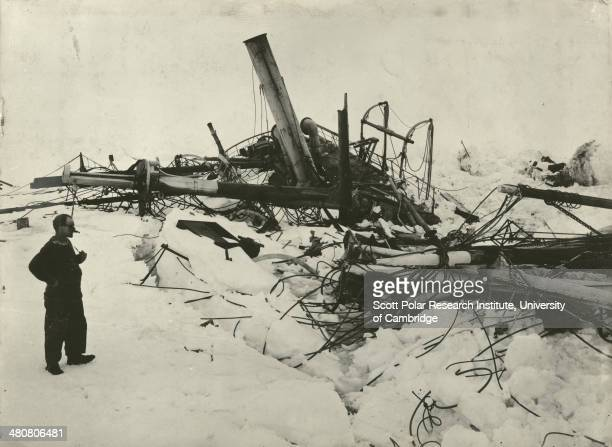 Explorer Frank Wild looking at the wreckage of the 'Endurance' during the Imperial TransAntarctic Expedition 191417 led by Ernest Shackleton