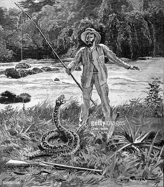 Explorer in Amazon Forest Confronted by Giant Snake 1902