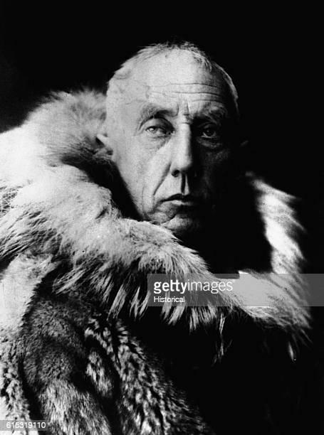 Explorer Roald Amundsen discoverer of the South Pole wears a fur parka on a visit to Virginia
