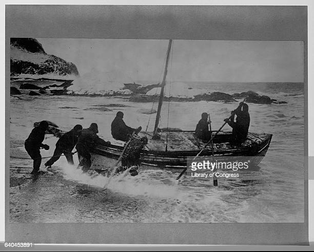 Explorer Sir Ernest Shackleton leads a rescue attempt for his men stranded on Elephant Island in the Antarctic