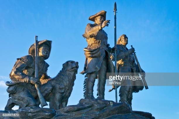Explorers at the Portage' bronze statue by sculptor Bob Scriver in Broadwater Overlook Park Great Falls Montana Figures of Merriwether Lewis William...