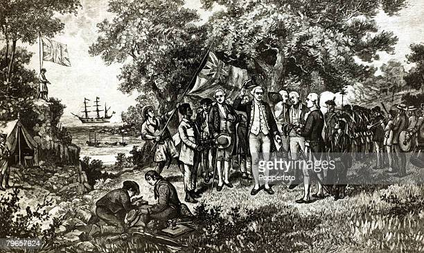 1779 This illustration shows British explorer Captain James Cook proclaiming New South Wales a British possession at Botany Bay