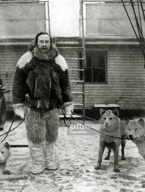 circa 1900 Robert Peary American explorer and naval officer who led the party that first reached the North Pole in 1909 pictured on board the...