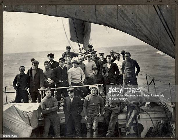 Explorers posing on the deck of the 'Endurance' during the Imperial TransAntarctic Expedition 191417 led by Ernest Shackleton 7th February 1915