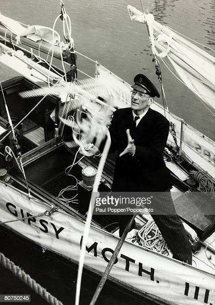 circa 1967 River Thames London British yachtsman Sir Francis Chichester on Gipsy Moth III Sir Francis Chichester made an epic single handed round the...