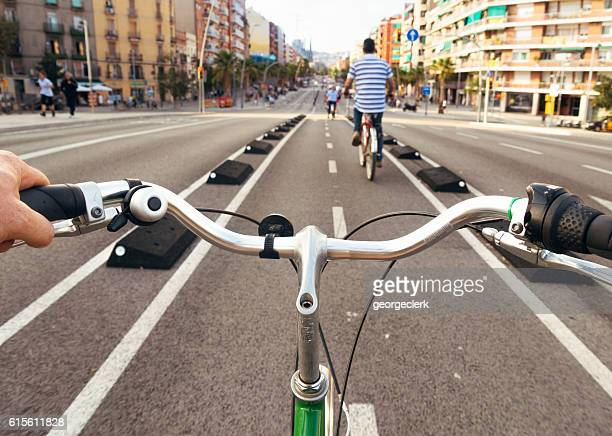 exploring barcelona by bicycle - cyclist point of view - handlebar stock photos and pictures