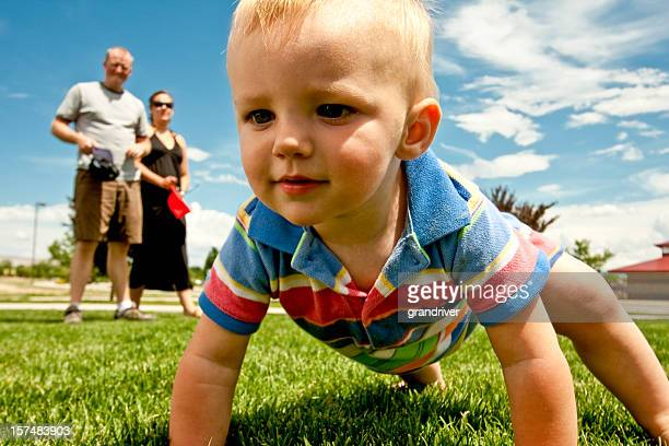 Exploring Causian Toddler Boy