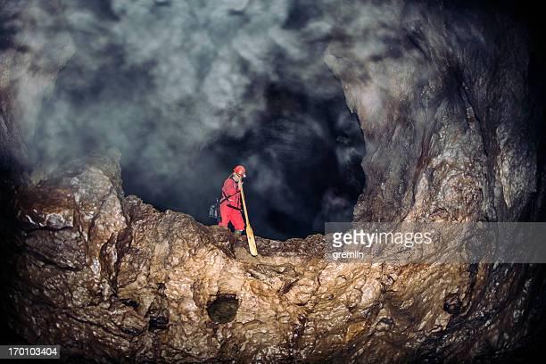 Exploring misty caves deep underground