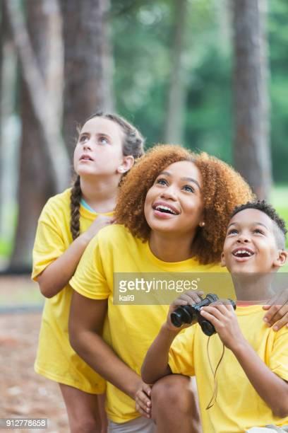 Exploring nature at summer camp