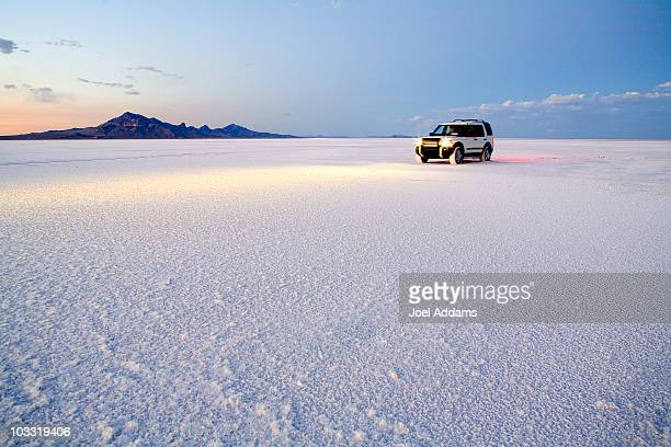 Exploring the Bonneville Salt Flats, Utah.