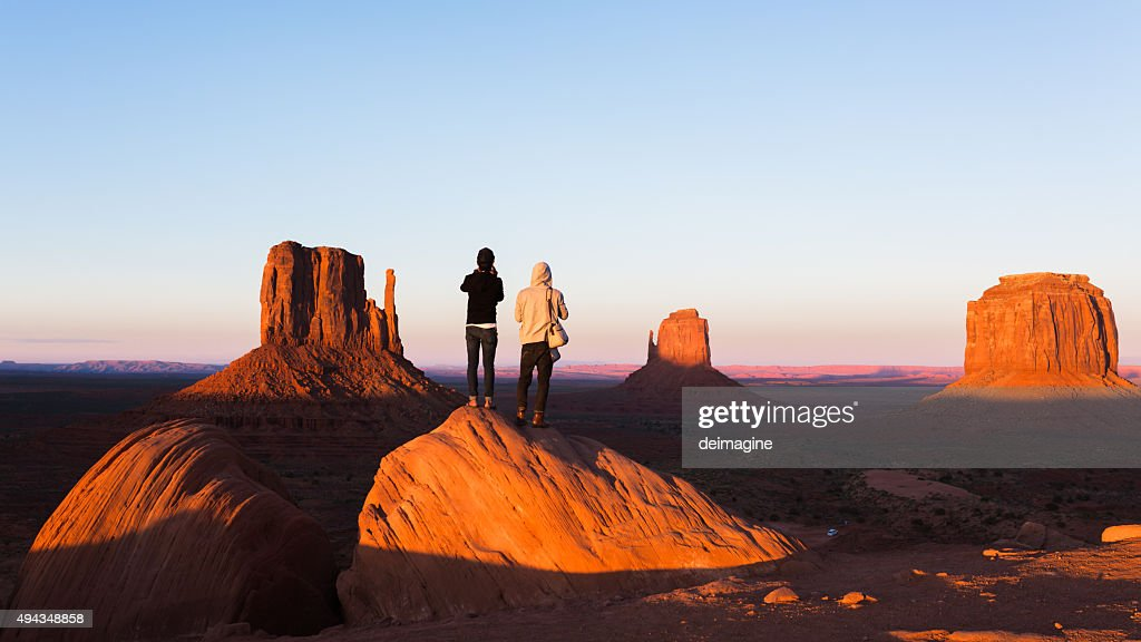 Exploring the Monument Valley : Stock Photo