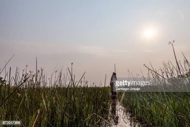 Exploring the Okavango Delta on dugout canoe