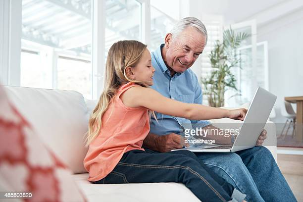 Exploring the online world with grandpa