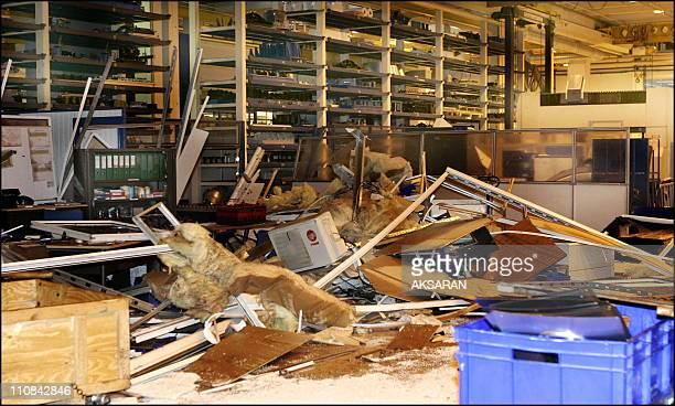 Explosion At Factory SaintEloi Of Airbus In Toulouse France On May 29 2006 A hydraulic press from 800 to 1000 bars used to mold iron plates to make...