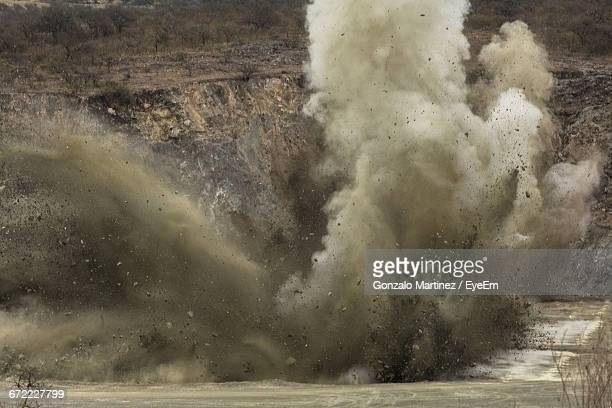 explosion at quarry - explosives stock photos and pictures