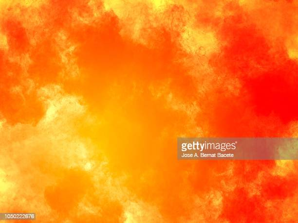explosion by an impact of a cloud of particles of powder and smoke of color red and yellow  background. - calientes fotografías e imágenes de stock
