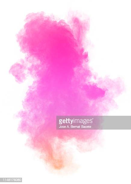 explosion by an impact of a cloud of particles of powder and smoke of color pink on a white background. - rosa color fotografías e imágenes de stock
