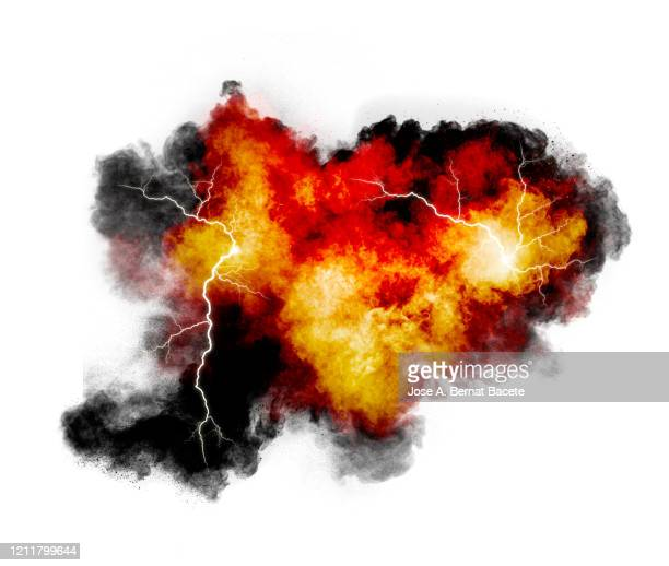 explosion by an impact of a cloud of particles of powder and smoke of multicolored on a white background. - flame stock pictures, royalty-free photos & images
