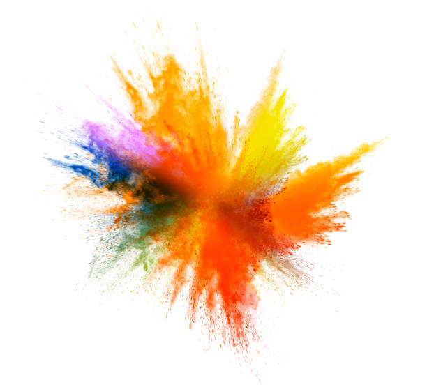 explosion by an impact of a cloud of particles of powder and smoke multicolored on a white background. - 彩色影像 個照片及圖片檔