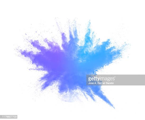 explosion by an impact of a cloud of particles of powder and smoke blue color on a white background. - 爆発物 ストックフォトと画像