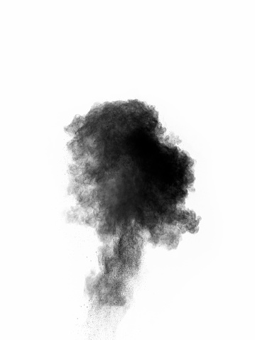 Explosion by an impact of a cloud of particles of powder of color gray and black on a white background. - gettyimageskorea