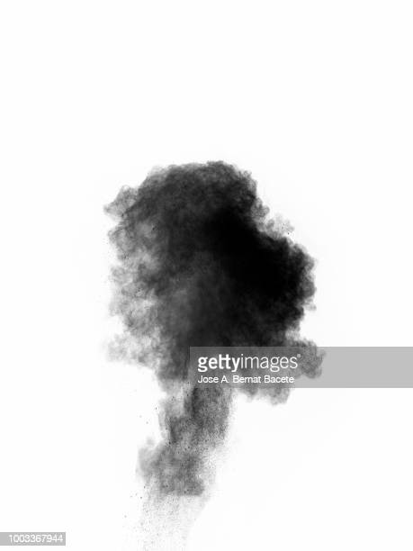 Explosion by an impact of a cloud of particles of powder of color gray and black on a white background.