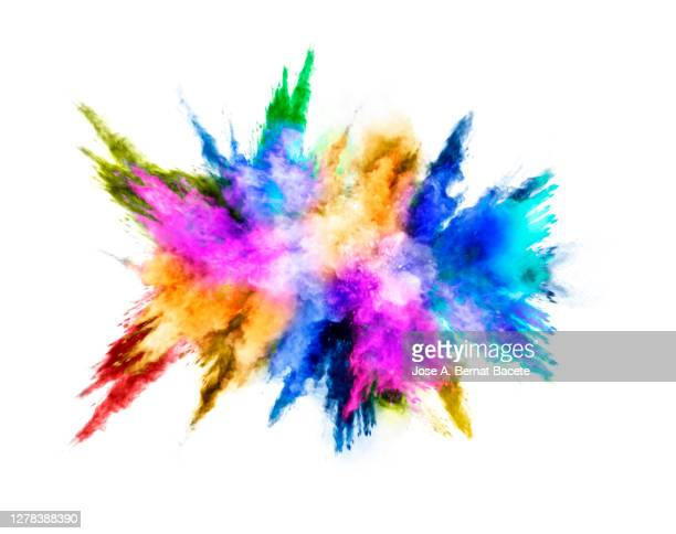 explosion by an impact of a cloud of particles of powder of multicolored on a white background. - 爆発物 ストックフォトと画像