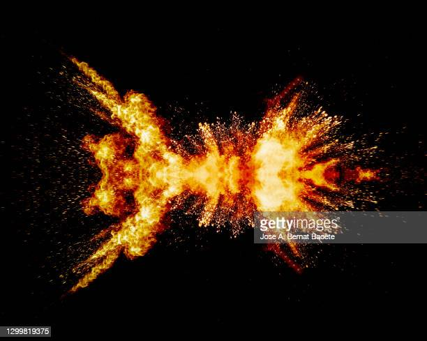 explosion by impact of smoke and fire on a flammable liquid surface. - crash stock pictures, royalty-free photos & images