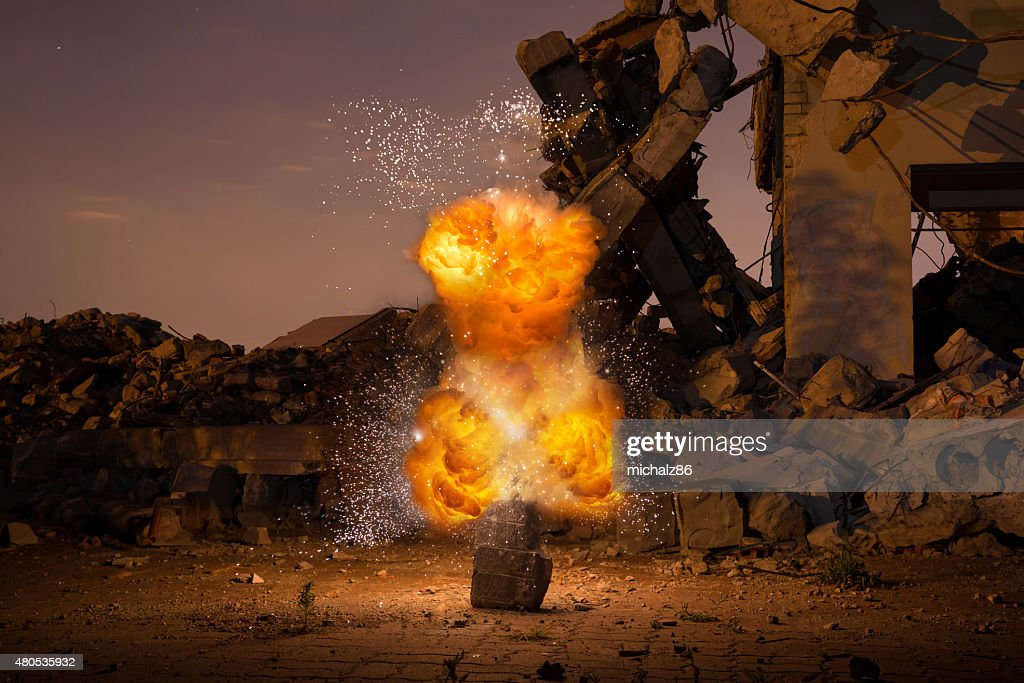 Explosion in the old hall : Stock Photo