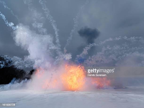 explosion in winter landscape