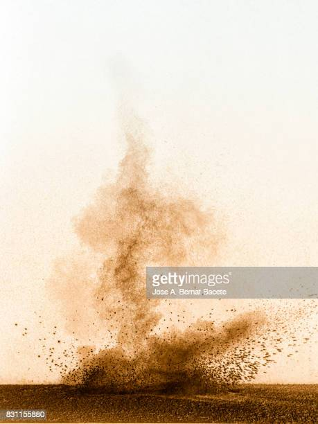 Explosion of a cloud of powder of particles of colors gray and brown and a white  background