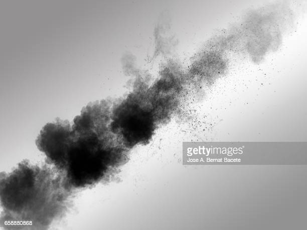 Explosion of a cloud of powder of particles of  colors gray on a white background