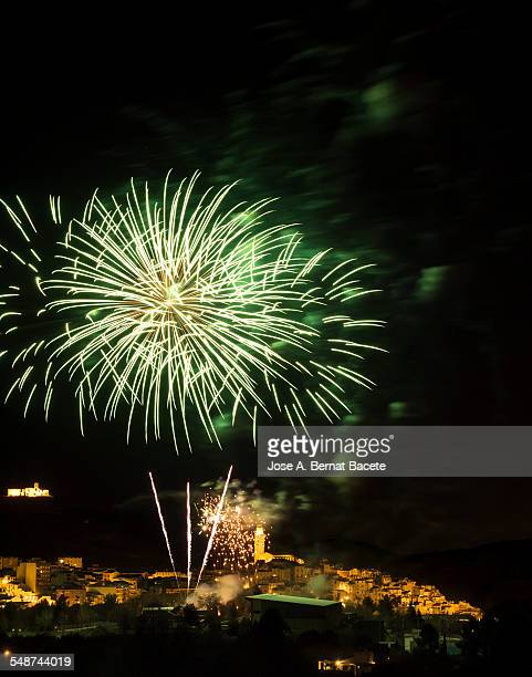 Explosion of a firework over a small village