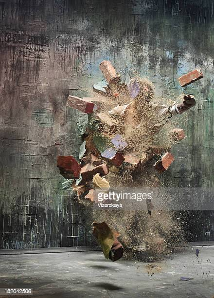explosion wall - demolishing stock pictures, royalty-free photos & images