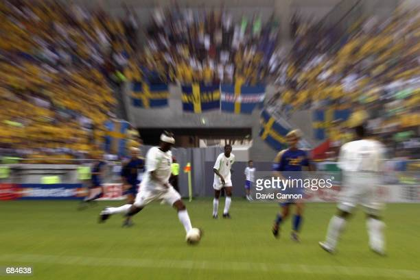 Explosive action taken during the FIFA World Cup Finals 2002 Group F match between Sweden and Nigeria played at the Kobe Wing Stadium, in Kobe, Japan...