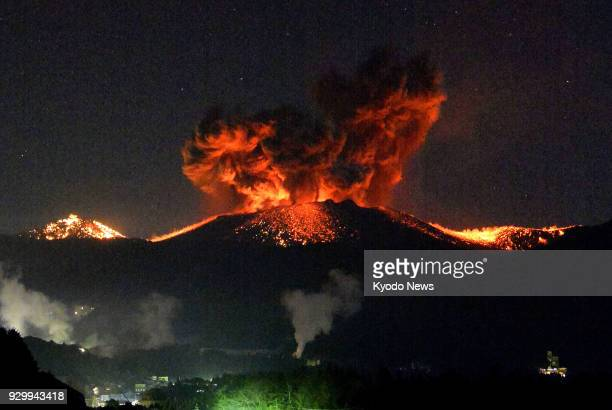 Explosive eruptions continue at Mt Shinmmoe a 1421meter high volcano straddling Kagoshima and Miyazaki prefectures in southwestern Japan on March 10...