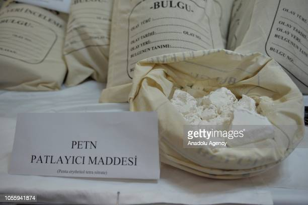 PETN explosives are displayed at a police headquarters after Turkish police found a vehicle loaded with over 247 kilograms of explosives and other...