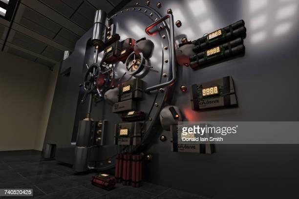 Explosives with timers on vault door