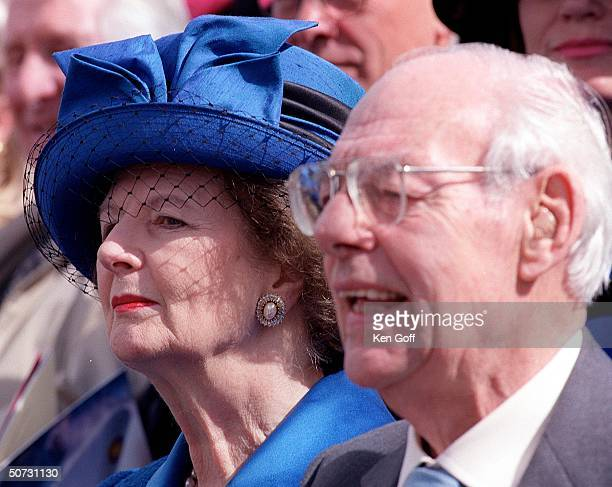 ExPM Lady Thatcher and her husband Denis at the naming ceremony for the new P O Cruise Liner Aurora at Southampton Docks