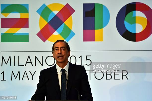 Expo 2015 CEO Giuseppe Sala attends a press conference to announce the partnership beetwen Alitalia Etihad and Expo 2015 on October 20 2014 at the...